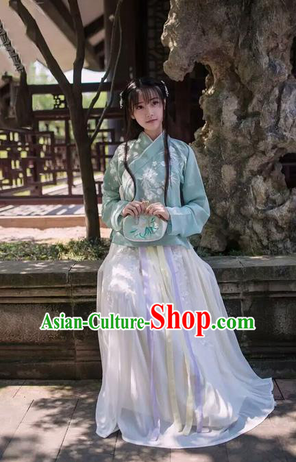 Traditional Chinese Ancient Ming Dynasty Female Costumes, China Hanfu Embroidered Slant Opening Blouse and Ru Skirt Complete Set for Women