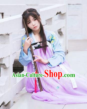 Traditional Chinese Ancient Tang Dynasty Young Lady Costumes, China Princess Hanfu Embroidered Blouse and Ru Skirt Complete Set for Women