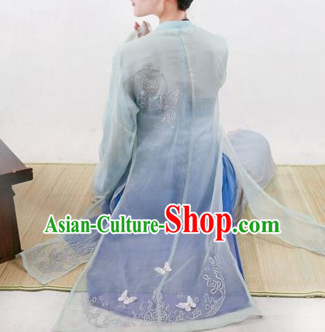 Traditional Chinese Ancient Song Dynasty Noble Lady Costumes, China Princess Hanfu Embroidered Cardigan Boob Tube Top and Pants Complete Set for Women