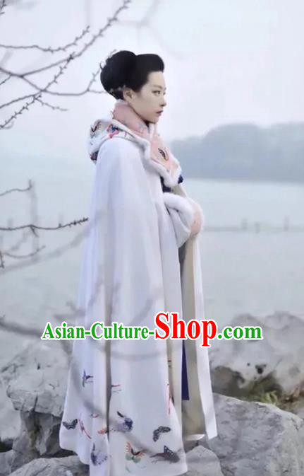 Traditional Chinese Ancient Song Dynasty Noble Lady Costumes, China Princess Hanfu Embroidered Butterfly White Cloak Mantle for Women