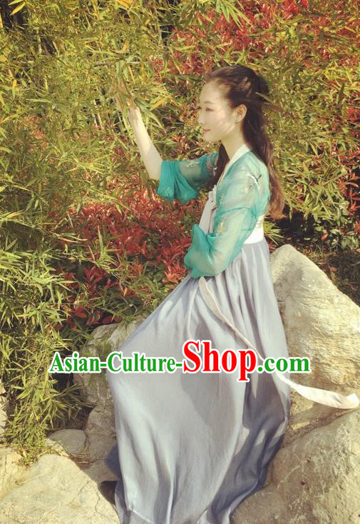 Traditional Chinese Ancient Tang Dynasty Young Lady Costumes, China Princess Hanfu Embroidered Green Blouse and Ru Skirt Complete Set for Women