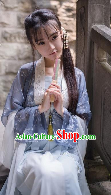 Traditional Chinese Ancient Tang Dynasty Young Lady Costumes, China Princess Hanfu Embroidered Wintersweet Suspenders Blouse and Ru Skirt Complete Set for Women