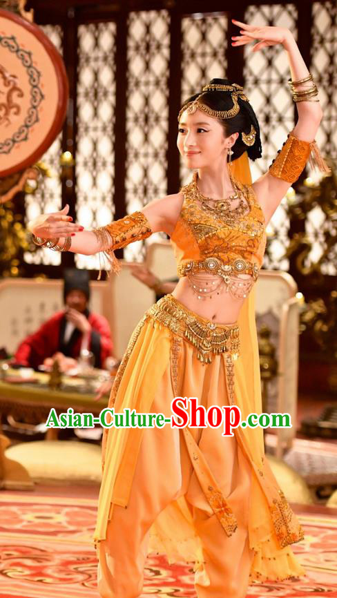 Chinese Ancient Tang Dynasty Palace Lady Qiuci Dance Costume and Headpiece Complete Set, Traditional Chinese Ancient Peri Flying Dance Dress Clothing for Women