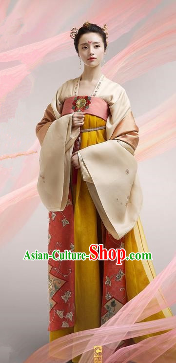 Chinese Ancient Tang Dynasty Imperial Princess Costume, Traditional Chinese Ancient Peri Female Officials Dress and Headpiece Complete Set for Women