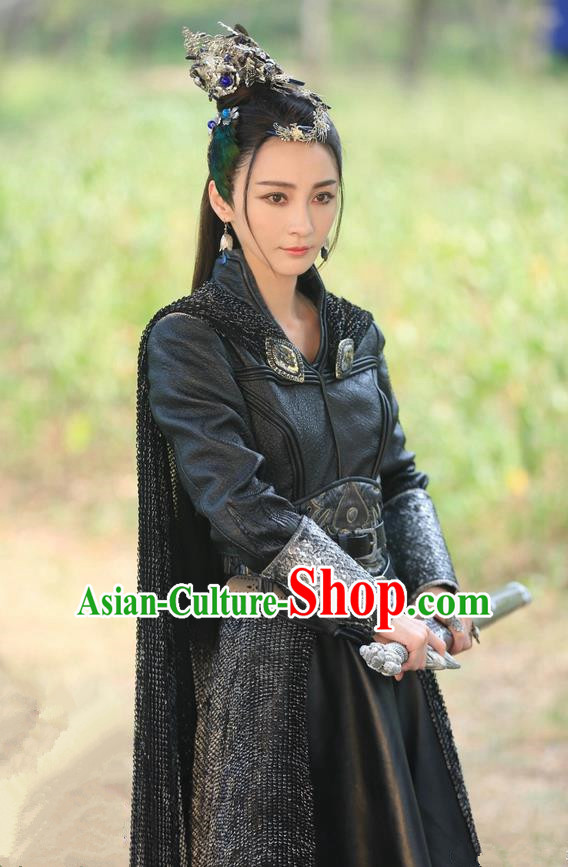 Chinese Ancient Tang Dynasty She-Devil Costume and Headwear, Fighter of the Destiny Traditional Chinese Ancient Enchantress Swordswoman Clothing Complete Set