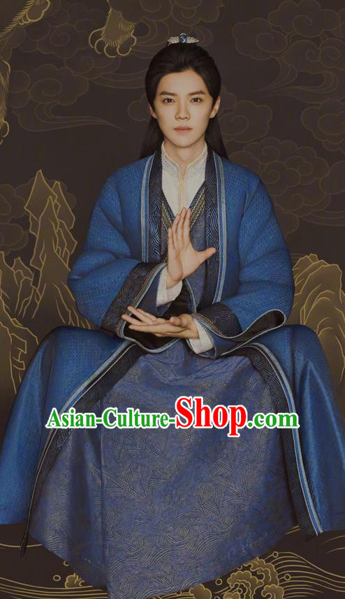 Chinese Ancient Tang Dynasty Taoist Priest Costume and Headpiece Complete Set, Fighter of the Destiny Traditional Chinese Ancient Swordsman Kawaler Clothing for Men