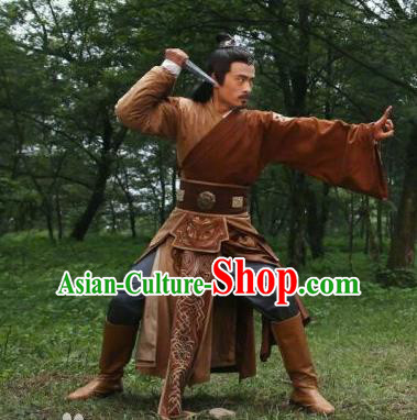 Traditional Chinese Ancient Valiant Swordsman Costume and Headpiece Complete Set, Fighter of the Destiny Tang Dynasty Killer Clothing for Men