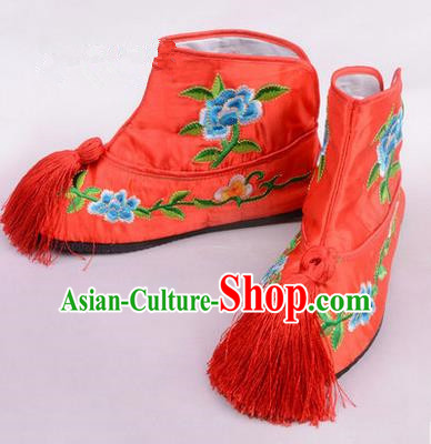 Chinese Ancient Peking Opera Martial Lady Embroidered Boots, Traditional China Beijing Princess Opera Red Embroidered Shoes