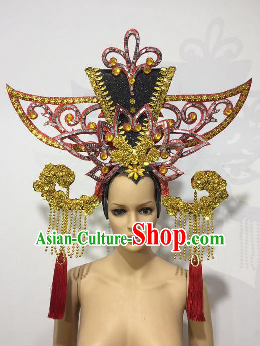 Top Grade Professional Stage Show Halloween Queen Headpiece Exaggerate Hat, Brazilian Rio Carnival Samba Opening Dance Imperial Empress Hair Accessories Headwear for Women