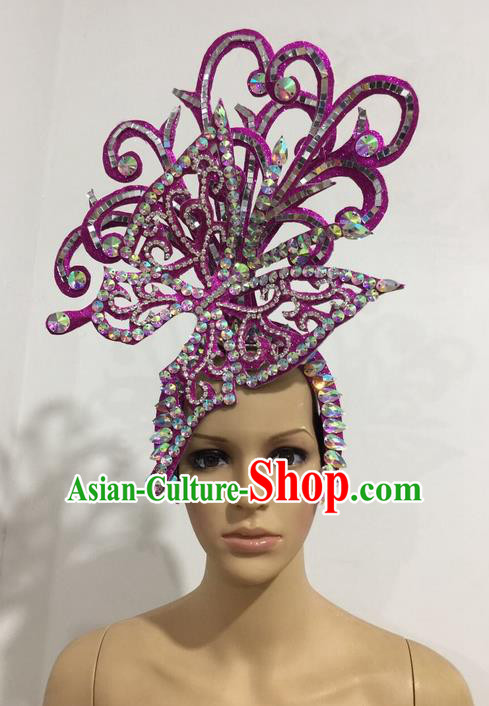 Top Grade Professional Stage Show Halloween Queen Purple Butterfly Headpiece, Brazilian Rio Carnival Samba Opening Dance Imperial Empress Hair Accessories Headwear for Women