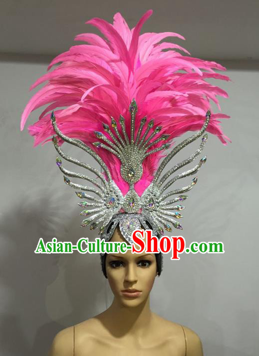 Top Grade Professional Stage Show Halloween Headpiece Pink Feather Hat, Brazilian Rio Carnival Samba Opening Dance Imperial Empress Hair Accessories Headwear for Women