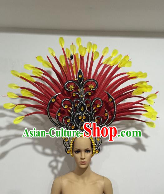 Top Grade Professional Stage Show Halloween Crystal Giant Headpiece Feather Hat, Brazilian Rio Carnival Samba Opening Dance Imperial Empress Hair Accessories Headwear for Women