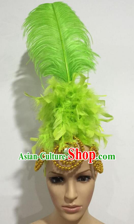 Top Grade Professional Stage Show Giant Headpiece Parade Hair Accessories, Brazilian Rio Carnival Samba Opening Dance Imperial Empress Green Feather Headwear for Women