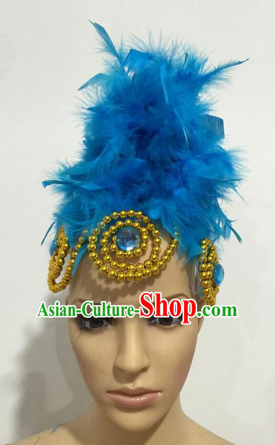 Top Grade Professional Stage Show Giant Headpiece Parade Hair Accessories, Brazilian Rio Carnival Samba Opening Dance Imperial Empress Blue Feather Headwear for Women