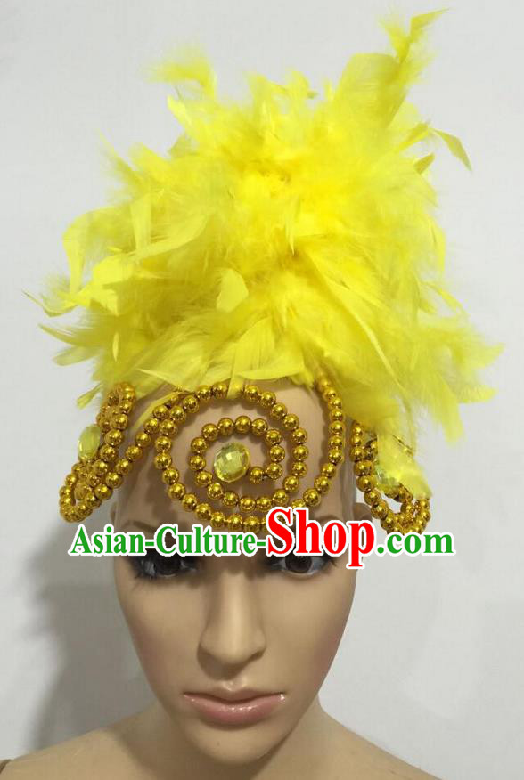 Top Grade Professional Stage Show Giant Headpiece Parade Hair Accessories, Brazilian Rio Carnival Samba Opening Dance Imperial Empress Yellow Feather Headwear for Women