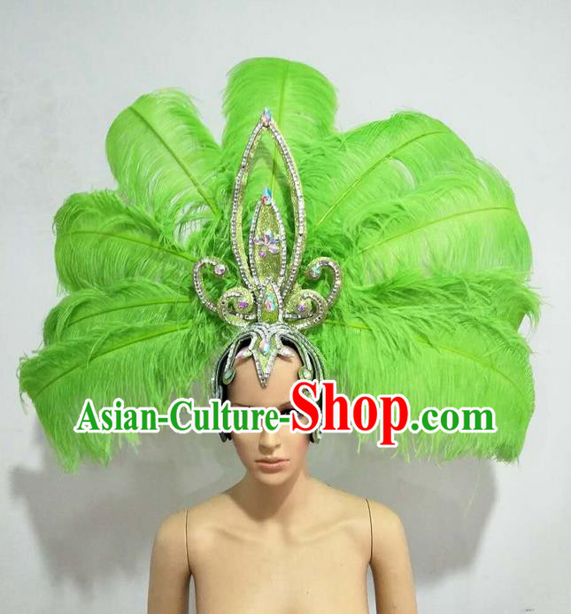 Top Grade Professional Stage Show Giant Headpiece Parade Big Hair Accessories Decorations, Brazilian Rio Carnival Samba Opening Dance Green Feather Headdresses for Women