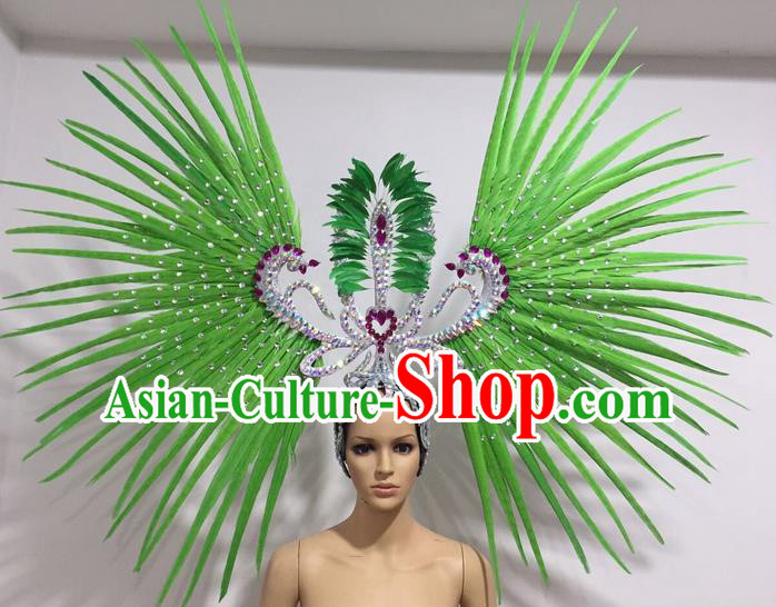 Top Grade Professional Stage Show Giant Headpiece Parade Hair Accessories Decorations, Brazilian Rio Carnival Samba Opening Dance Green Feather Headdress for Women