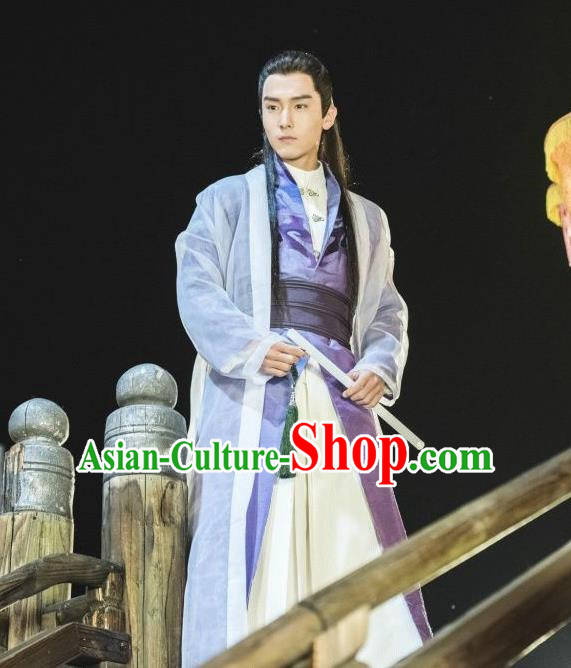 Traditional Ancient Chinese Scholar Costume, A Life Time Love Chinese Nobility Childe Clothing and Handmade Headpiece Complete Set for Men