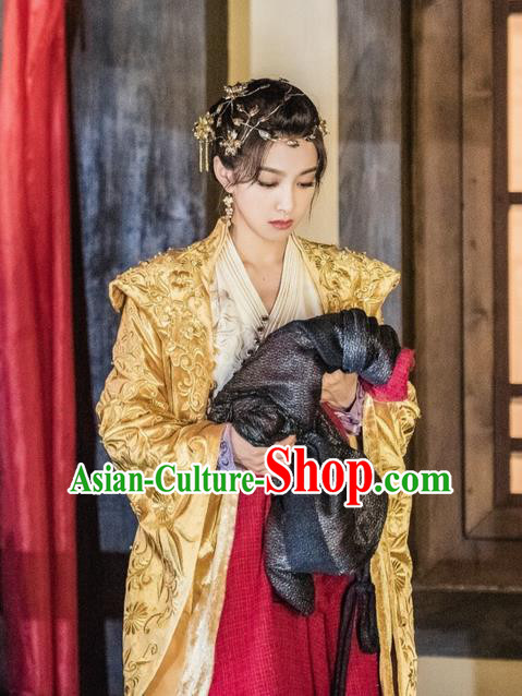 Traditional Ancient Chinese Imperial Empress Costume, A Life Time Love Chinese Queen Embroidered Clothing and Handmade Headpiece Complete Set for Women