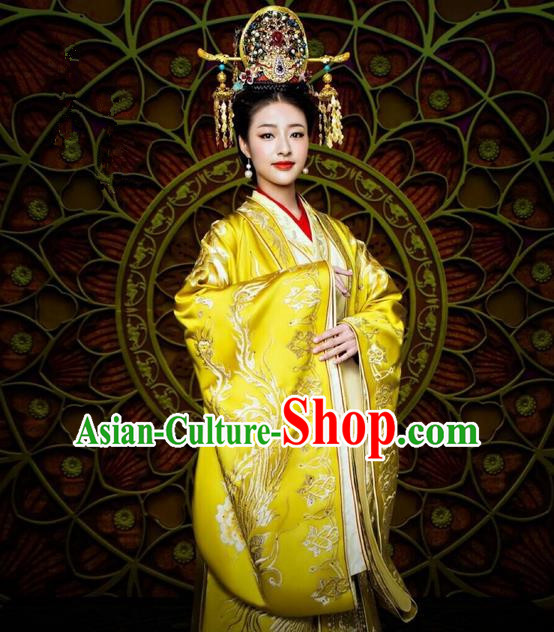 Traditional Ancient Chinese Imperial Empress Costume and Handmade Headpiece Complete Set, Elegant Hanfu Chinese Southern and Northern Dynasty Imperial Women Embroidered Trailing Clothing