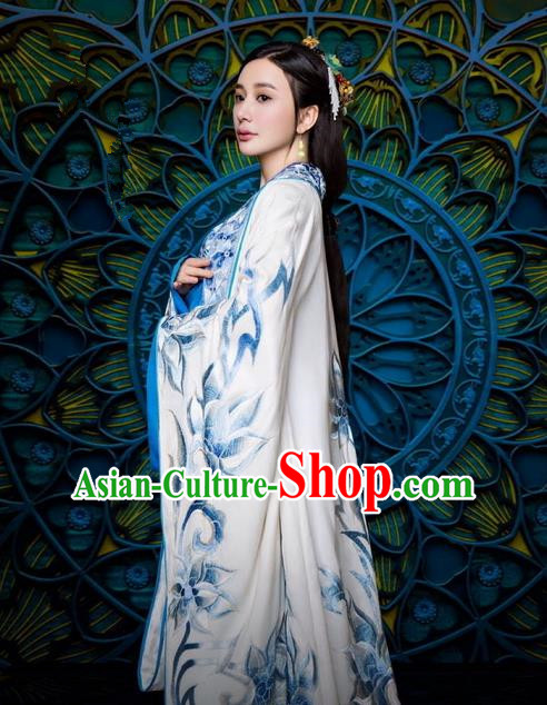 Traditional Ancient Chinese Imperial Princess Costume and Handmade Headpiece Complete Set, Elegant Hanfu Chinese Southern and Northern Dynasty Young Lady Embroidered Trailing Clothing