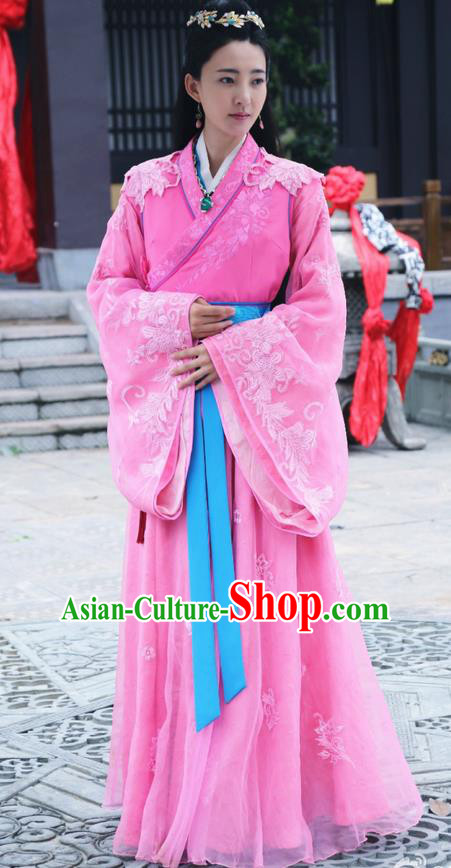Traditional Ancient Chinese Imperial Consort Costume and Handmade Headpiece Complete Set, Elegant Hanfu Chinese Southern and Northern Dynasty Imperial Concubine Embroidered Trailing Clothing