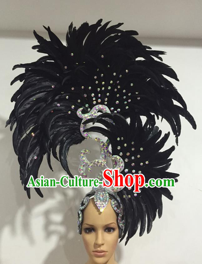 Top Grade Professional Stage Show Halloween Parade Big Hair Accessories, Brazilian Rio Carnival Samba Dance Modern Fancywork Black Feather Giant Headpiece for Kids