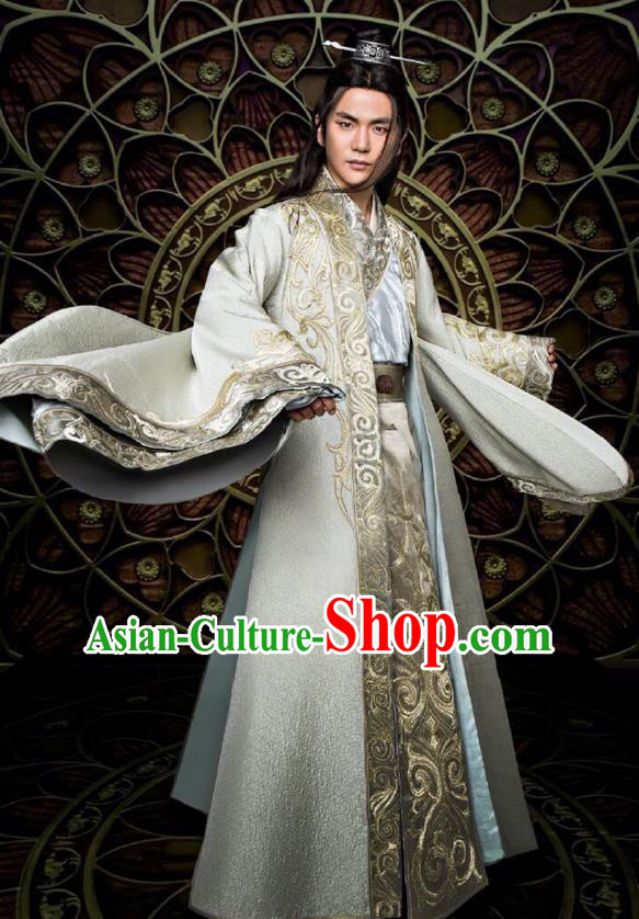 Traditional Ancient Chinese Nobility Childe Costume and Handmade Headpiece Complete Set, Elegant Hanfu Chinese Southern and Northern Dynasty Swordsman Robe Clothing