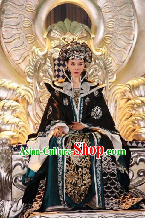 Traditional Ancient Chinese Tang Dynasty Imperial Empress Costume and Handmade Headpiece Complete Set, Fighter of the Destiny Queen Embroidered Phoenix Clothing