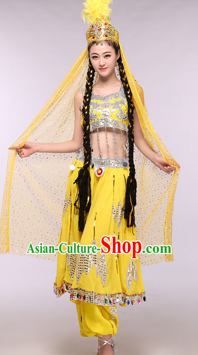 Yellow Traditional Xinjiang Folk Dance Costumes Chinese Minority Ethnic Stage Dance Outfits for Adults
