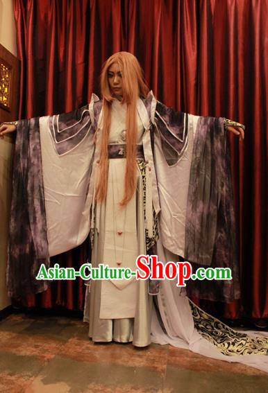 Top Grade Traditional China Ancient Swordsman Costumes, China Ancient Cosplay Royal Highness Robe Clothing for Men