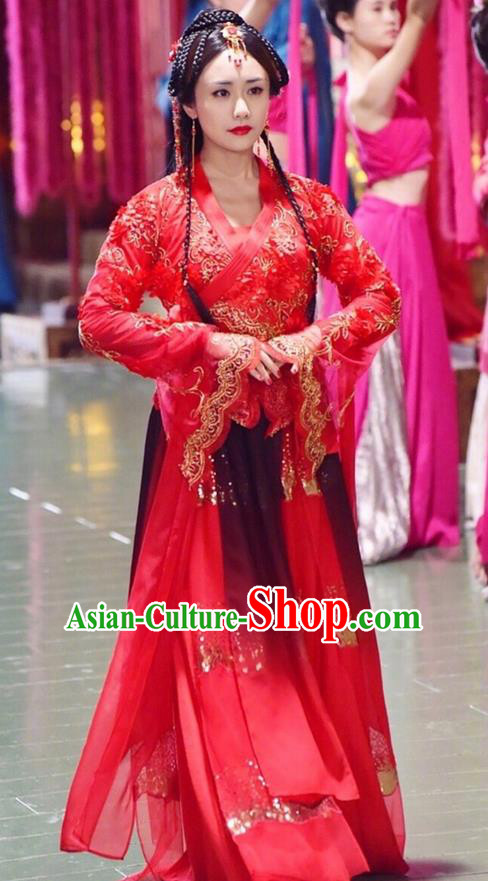 Traditional Ancient Chinese Warring States Period Palace Lady Dance Costume, Song of Phoenix Chu Dynasty Imperial Concubine Embroidered Clothing and Headpiece Complete Set