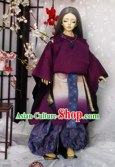 Top Grade Traditional Japan Crane Kimono Costumes Complete Set, Ancient Japanese Kimono Cosplay Purple Clothing for Men and Kids