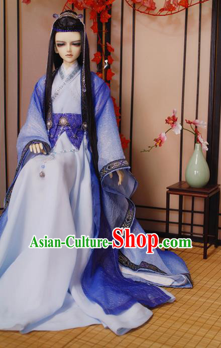 Top Grade Traditional China Ancient Cosplay Nobility Childe Costumes, China Ancient Han Dynasty Swordsman Knight-Errant Blue Robe Clothing for Men for Kids