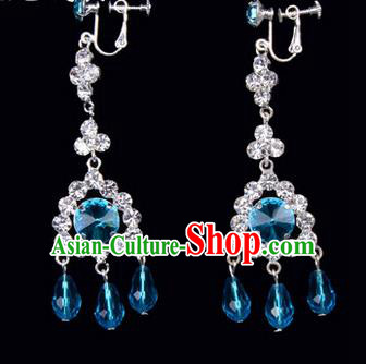 Chinese Ancient Peking Opera Head Accessories Young Lady Diva Colorful Crystal Blue Tassel Earrings, Traditional Chinese Beijing Opera Hua Tan Ear Pendants