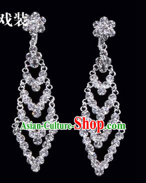 Chinese Ancient Peking Opera Head Accessories Young Lady Diva Colorful Crystal White Rhombus Earrings, Traditional Chinese Beijing Opera Hua Tan Ear Pendants