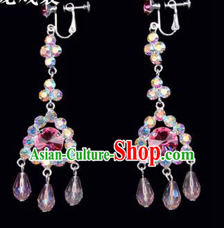 Chinese Ancient Peking Opera Head Accessories Young Lady Diva Colorful Crystal Pink Tassel Earrings, Traditional Chinese Beijing Opera Hua Tan Ear Pendants