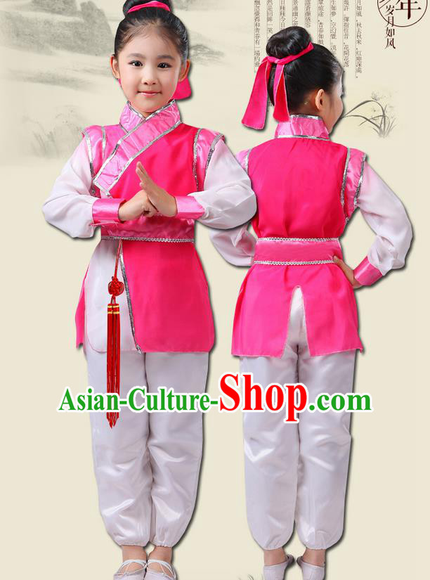 Top Grade Chinese Ancient Scholar Costume and Headwear Complete Set, Children Martial Arts Performance Pink Clothing for Kids