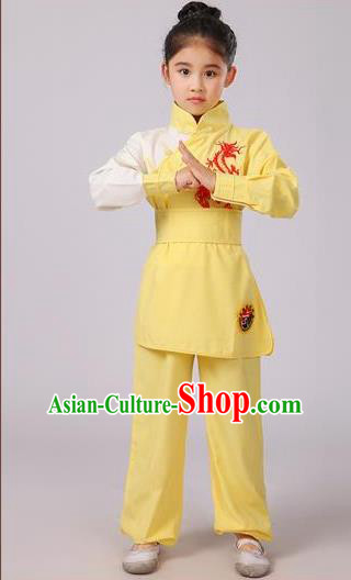 Top Grade Chinese Ancient Martial Arts Costume, Children Taiji Kung fu Yellow Clothing for Kids