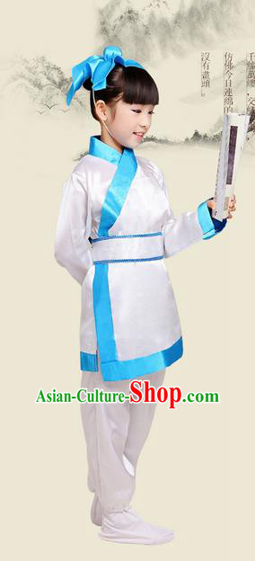 Top Grade Chinese Ancient Scholar Costume and Headwear Complete Set, Children Three Character Classic Performance White Clothing for Kids