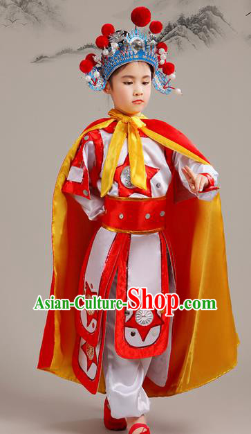 Top Grade Chinese Peking Opera Blues Soldier Costume Complete Set, Children Beijing Opera General Clothing for Kids