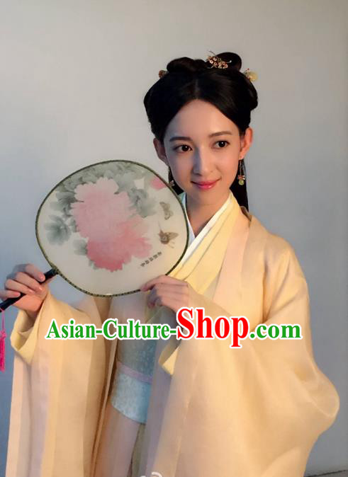 Traditional Ancient Chinese Northern and Southern Dynasties Palace Lady Costume, The Entangled Life of Qingluo Princess Dress Clothing and Headpiece Complete Set