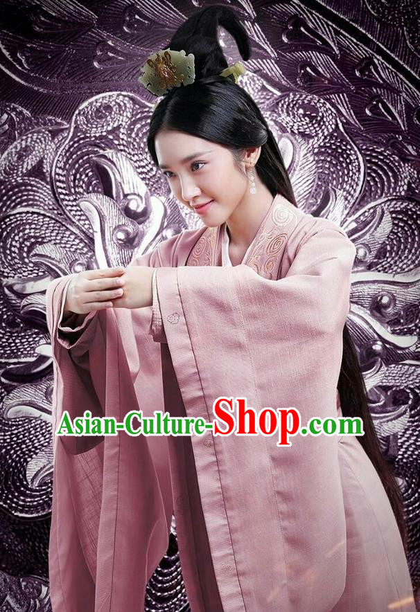 Traditional Ancient Chinese Three Kingdoms Period Female Costume, The Advisors Alliance Imperial Princess Embroidered Dress Clothing and Headpiece Complete Set