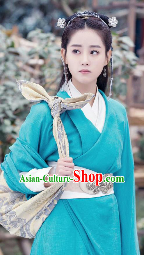 Traditional Ancient Chinese Young Lady Costume and Handmade Headpiece Complete Set, Elegant Hanfu Clothing Chinese Swordswoman Green Dress Clothing