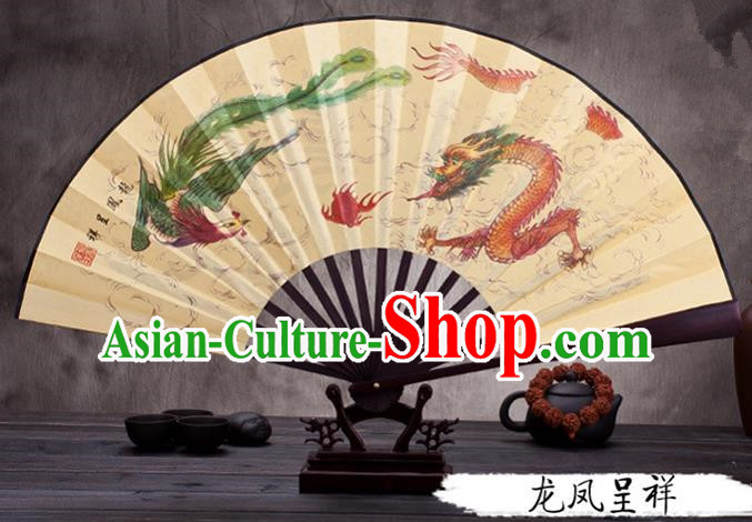 Traditional Chinese Ancient Peking Opera Accessories Scholar Ink Painting Dragon and Phoenix Fan, Traditional Chinese Beijing Opera Young Men Props Folding Fans