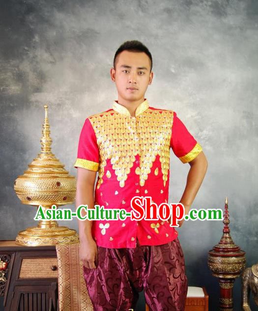 Traditional Traditional Thailand Male Clothing, Southeast Asia Thai Ancient Costumes Dai Nationality Red Blouse for Men