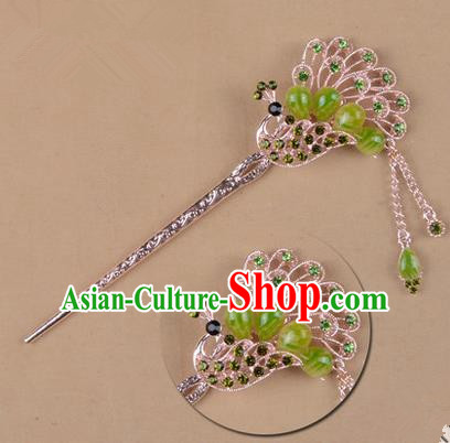 Top Grade Chinese Ancient Peking Opera Hair Accessories Diva Green Crystal Peacock Hairpins Step Shake, Traditional Chinese Beijing Opera Hua Tan Hair Clasp Head-ornaments
