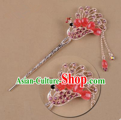 Top Grade Chinese Ancient Peking Opera Hair Accessories Diva Pink Crystal Peacock Hairpins Step Shake, Traditional Chinese Beijing Opera Hua Tan Hair Clasp Head-ornaments