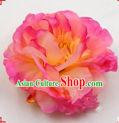 Top Grade Chinese Ancient Peking Opera Hair Accessories Diva Pink Peony Hairpins, Traditional Chinese Beijing Opera Hua Tan Hair Clasp Head-ornaments