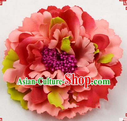 Top Grade Chinese Ancient Peking Opera Hair Accessories Diva Red Peony Hairpins, Traditional Chinese Beijing Opera Hua Tan Hair Clasp Head-ornaments